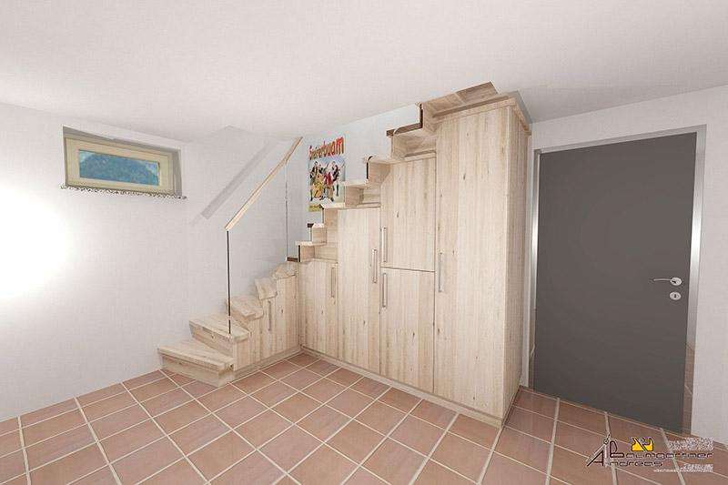 Verkleidung Treppe mit Garderobe | Tischlerei Baumgartner Vorchdorf